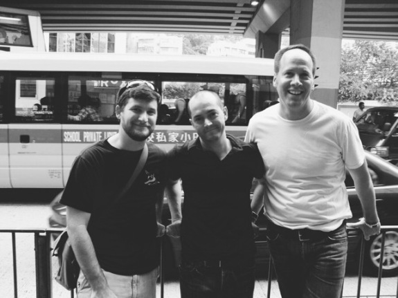 Jim hangs with his Creative Director Seth Guge and our digital tech in Hong Kong